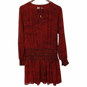 MICHAEL KORS Red Printed Long Sleeve Tunic